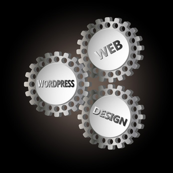 image with 3 gears with the words wordpress, web and design on them on a black background
